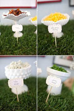 mac and cheese bar Toppings - we can also do broccoli, barbecue, salsa, assorted cheeses, pastas, etc!  Fun for everyone!  #catering #macaroni #cheese #wedding #station #food #catering #chattanooga www.ASilverwareAffair.net