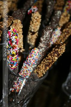 Chocolate Dipped Pretzel Rods | great all year, but esp. as ideas for the chocolate-covered matzah. An easy (with adult supervision and lots of newsprint) DIY for kids.