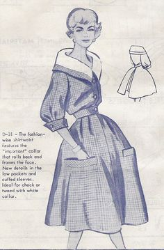 1950s pattern - Modes Royale shirtwaist dress with rolled collar via Etsy.