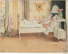 """Carl Larsson """"Konvalescens"""" (1899). Porträttet av Karin i Stockholmsvåningen målades när hon var på bättringsvägen efter en svår lunginflammation. Akvarell. Nationalmuseum."""