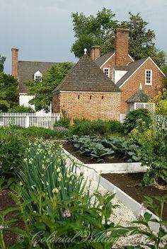 Powell House Kitchen Garden. Heirloom Flowers Garden Book.  Colonial Williamsburg's Historic Area. Williamsburg, Virginia. Photo by Barbara Temple Lombardi.