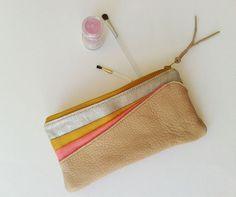 pochette trousse trousse pour make-up cuir par SarahRossetTexier