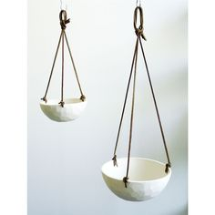 Nordic Porcelain Planter with Leather Cord - Dot & Bo Large Planters, Hanging Planters, Flora Grubb, Ceramic Planters, Dot And Bo, Clay Pots, West Elm, Leather Cord, Indoor Plants