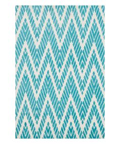 Look at this Aqua & White Zigzag Cassidy Rug on #zulily today!