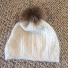 adorable fur Pom Pom beanie real fur; gorgeous and soft material. only worn once Accessories Hats