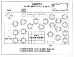 Tent size calculator shown 40 39 x 40 39 tent for 100 people for Wedding tent layout design