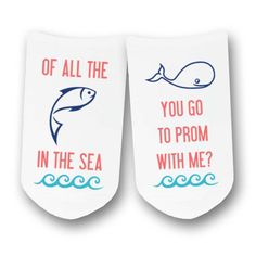 Of All the Fish in the Sea, Whale You Go to Prom with Me! - PROMposal Socks - White No Show or CrewSocks - Sold by the pair