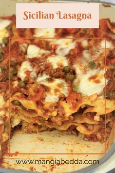A classic Sicilian style lasagna layered with ragu with peas, bechamel, and hard-boiled eggs. #sicilianlasagna #lasagna
