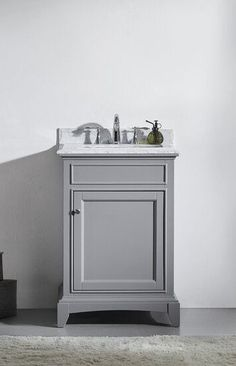 24 inch Gray Bathroom Vanity Set with White Carrera Marble Top