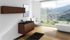 Modern bathroom cabinet with curved front / Mueble de baño moderno con el frente curvo
