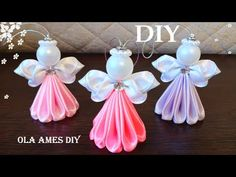 DIY Ribbon Angel 😇 АНГЕЛ ИЗ ЛЕНТ/ Kanzashi Angel/ Satin Ribbon Christmas Angel Ornaments/ Ola ameS - Free Online Videos Best Movies TV shows - Faceclips Diy Christmas Angel Ornaments, Crochet Christmas Decorations, Christmas Origami, Christmas Crochet Patterns, Christmas Angels, Christmas Crafts, Crochet Ornaments, Crochet Snowflakes, Christmas Poinsettia