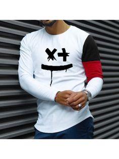T-shirts, Smiley print colorblock long-sleeved T-shirt Casual T Shirts, Men Casual, Camisa Polo, Polo T Shirts, Ripped Denim, Printed Tank Tops, Shorts With Pockets, T Shirt World, Shirt Designs
