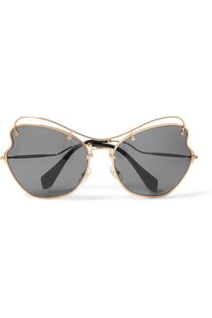 Crystal-embellished Cat-eye Gold-tone Mirrored Sunglasses - one size Gucci ShW6k
