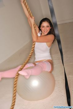 Carlotta Champagne has some fun with a rope and a big ball naked celebrities