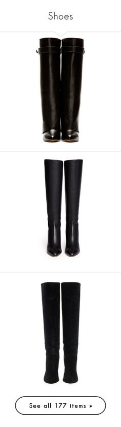 """""""Shoes"""" by yumi-aug ❤ liked on Polyvore featuring shoes, boots, knee-high wedge boots, leather knee high boots, black wedge boots, leather knee boots, knee-high boots, leather calf boots, calfskin boots and jimmy choo"""