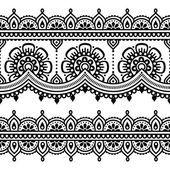 Mehndi, indische Henna Tätowierung nahtlose Muster — Stockvektor