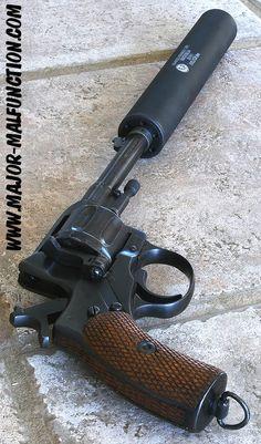 Russian Nagant Revolver w/silencer - unfortunate that it is a modern suppressor. Military Weapons, Weapons Guns, Guns And Ammo, Airsoft, Rifles, Fire Powers, Cool Guns, Shotgun, Cannon