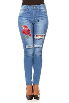 64cbc31b956 V.I.P. JEANS Ripped Distressed High Waisted Slim Fit Skinny Stretch Jeans  Junior and Plus Size Flannel