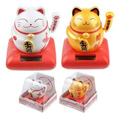 Waving Cat Solar PalMaterial: PlasticProduct Resources:Want to find out more about purchasing from Puckator?Need more information on solar pals? Visit our resource centre and browse our solar pal product buying g Neko Cat, Maneki Neko, Solar Powered Toys, Cat Design, Solar Energy, Lunch Box, Window Desk, Diy, Color