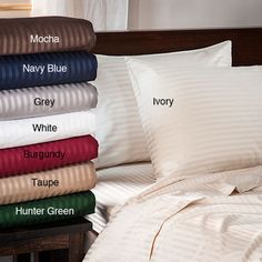 Shop for Superior 400 Thread Count Deep Pocket Stripe Cotton Sateen Bed Sheet Set. Get free delivery On EVERYTHING* Overstock - Your Online Bedding Basics Store! Twin Sheet Sets, Cotton Sheet Sets, Duvet Sets, Duvet Cover Sets, Flat Sheets, Bed Sheets, King Sheets, Queen Size Sheets, Round Beds