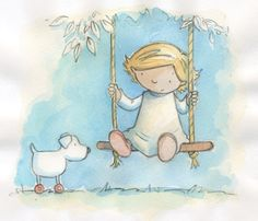 Sue King Illustration - sue king, paint, painted, watercolour, commercial, sweet, young, educational, novelty, activity, girl, swing, dog, dress, blue sky, grass, trees, tree, leaves, garden, playing, toy