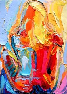Hand-painted Abstract Oil Painting - A young woman ...BTW,Check this out: http://artcaffeine.imobileappsys.com