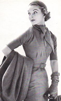 Stylish travel ensemble, 1950s.