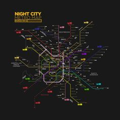 Check out this awesome 'Night+City+Map' design on Cyberpunk Games, Cyberpunk 2020, Metro Map, City O, Robots Characters, Cyberpunk Aesthetic, Neon Nights, Ghost In The Shell, Modern City
