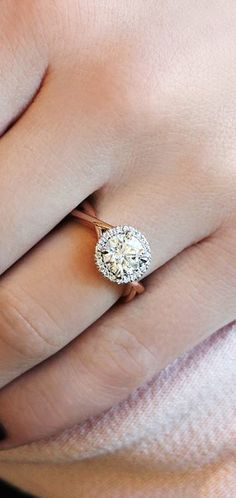 twisted rose gold engagement ring with round halo set by dana rebecca designs danarebecca - Circle Wedding Rings