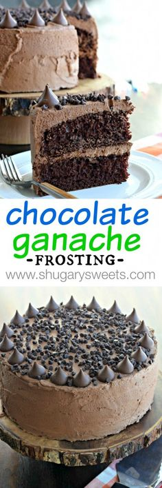 Decadent Chocolate Cake recipe.  Delicious chocolate cake with a no-fail Whipped Chocolate Ganache frosting recipe