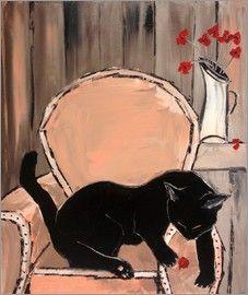 Cat on armchair painting | Jiel