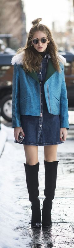 NYFW street style: Chiara Ferragni in denim and knee high boots