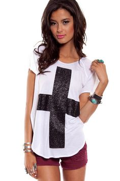 DIY INSPIRATIONAL IMAGE: Recreate with stencil or masking tape and fabric glitter paint. Glitter Cross T-Shirt.