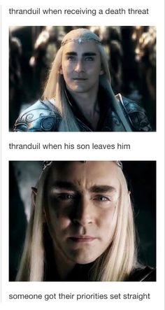 Thranduil has his priorities right <---- i want to hug the king.. so very badly. i wanna tell him he's not alone even after Legolas and the others are gone. wish i could bring back his wife and make him smile again...