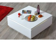 Table basse ELECTRA laquée blanc Dining Table, Electra, Living Room, Furniture, Room Ideas, Home Decor, White Shellac, Glass Tray, Pretty