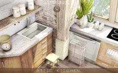 Attic Kitchen for The Sims 4
