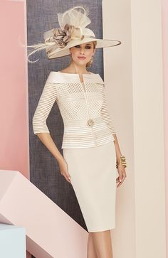 Veni Infantino 991305 Colour Almond and Ivory, price £630. Two-tone knee-length dress, capped sleeves, beaded side motifs. Matching ¾ length sleeved jacket.