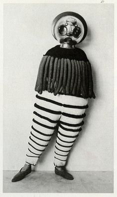 "Costume for the Triadic Ballet from ""The Theater of the Bauhaus"" macabre surreal costume design for theatre of curiosity at roll up circus"