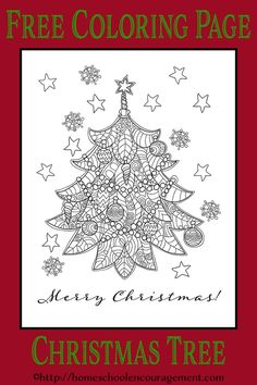 Christmas Tree Coloring Page - Beautiful  - Free Printable.