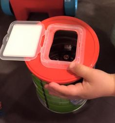 Formula / milk powder tin + baby wipes packet lid = fun for baby & toddler!