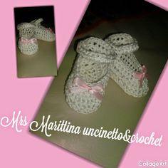 Mrs Marittina Uncinetto&Crochet: Scarpine neonata Mary Jane - Mary Jane crochet booties