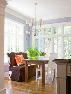 Search for the next color of your room with these purple paint colors. Browse our favorite variations including bejeweled amethyst and vibrant orchid, and discover how to decorate according to the hue. Plus, get the names of our top purple paint colors. Purple Paint Colors, Wall Colors, Colours, Lavender Room, White Ceiling, Dining Room Walls, Upholstered Furniture, Decoration, Kitchen Remodel