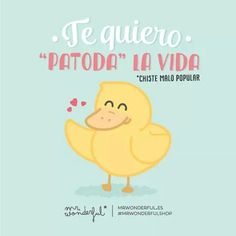 "Te quiero ""patoda"" la vida. Mr Wonderful"