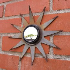 Scrap metal art sunburst wall mirror - All For House İdeas Sun Mirror, Wall Mirror, Outdoor Mirror, Industrial Mirrors, Metal Art Projects, Scrap Metal Art, Metal Gates, Car Rear View Mirror, Old Farm