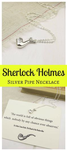 This Sherlock Holmes Silver Pipe Necklace by LITERARY EMPORIUM looks so ELEGANT! #sherlock #affiliate