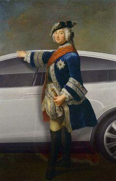 Antoine Pesne, Friedrich der Große (1746) – Tesla SUV Model X