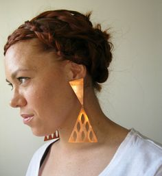 Copper Pyramid Statement Earrings. by LarkinAndLarkin on Etsy, $28.00