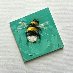 Reserved for Faye. Bumblebee painting, Tiny original impressionistic oil painting of a whimsical Bumblebee, on panel. Small Canvas Paintings, Small Canvas Art, Mini Canvas Art, Small Paintings, Original Paintings, Bee Painting, Painting & Drawing, Gouache Painting, Painting Canvas