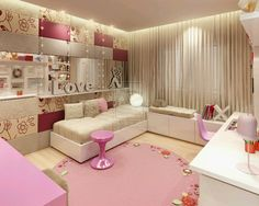 There is a comfortable and beautiful bedroom with differents colors