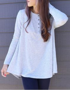 Fresh Style Scoop Neck Buttoned Solid Color Ruched T-Shirt For WomenT-Shirts   RoseGal.com